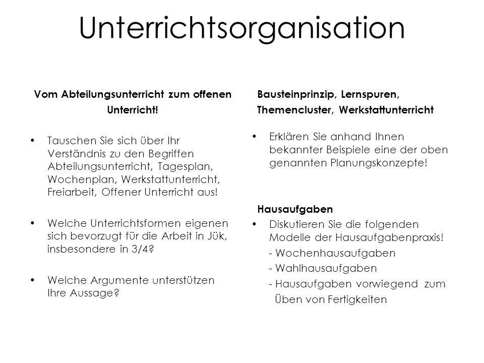 Unterrichtsorganisation Vom Abteilungsunterricht zum offenen Unterricht! Tauschen Sie sich über Ihr Verständnis zu den Begriffen Abteilungsunterricht,