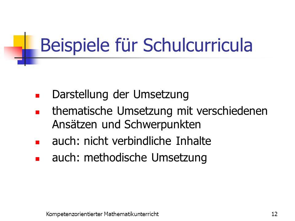 Beispiele für Schulcurricula 12Kompetenzorientierter Mathematikunterricht Darstellung der Umsetzung thematische Umsetzung mit verschiedenen Ansätzen u