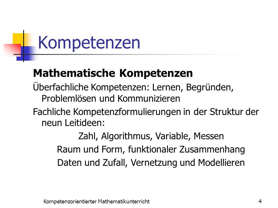 Kompetenzen 4Kompetenzorientierter Mathematikunterricht Mathematische Kompetenzen Überfachliche Kompetenzen: Lernen, Begründen, Problemlösen und Kommu