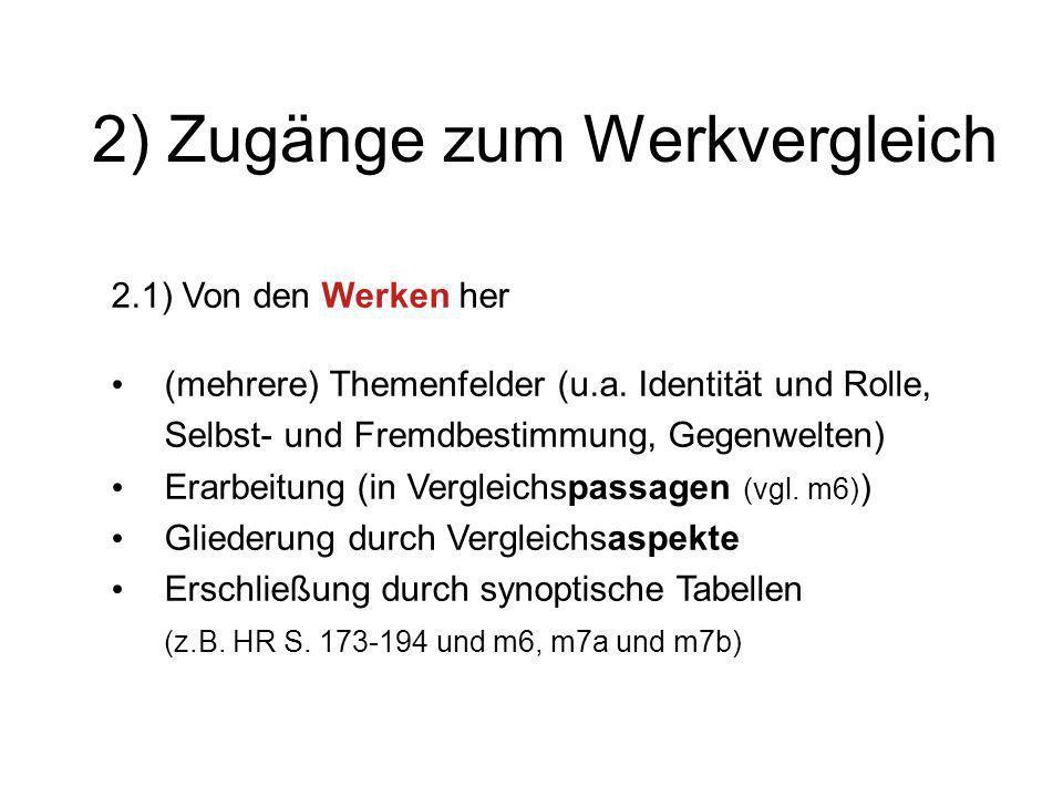 2) Zugänge zum Werkvergleich 2.1) Von den Werken her (mehrere) Themenfelder (u.a. Identität und Rolle, Selbst- und Fremdbestimmung, Gegenwelten) Erarb