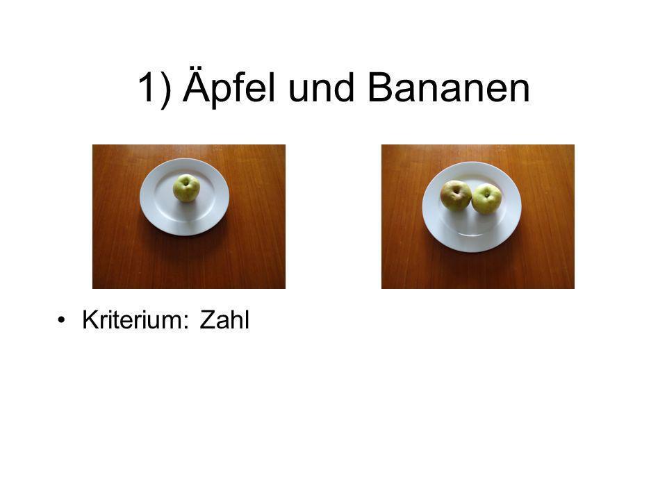 1) Äpfel und Bananen Kriterium: Zahl Kriterium: Obstsorte Kriterium: Vollständigkeit Kriterium: Unterlage Je nach Kriterium können unterschiedliche Paarungen entstehen.