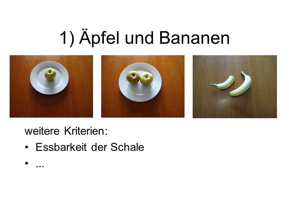 1) Äpfel und Bananen Eine solche Aufgabe: übt sprachliche Verknüpfungsformen, zeigt, dass manche Merkmale erst durch den Vergleich hervortreten, fördert Bewusstsein für Vergleich als eigenständige Leistung, übt aspektorientiertes Vorgehen.