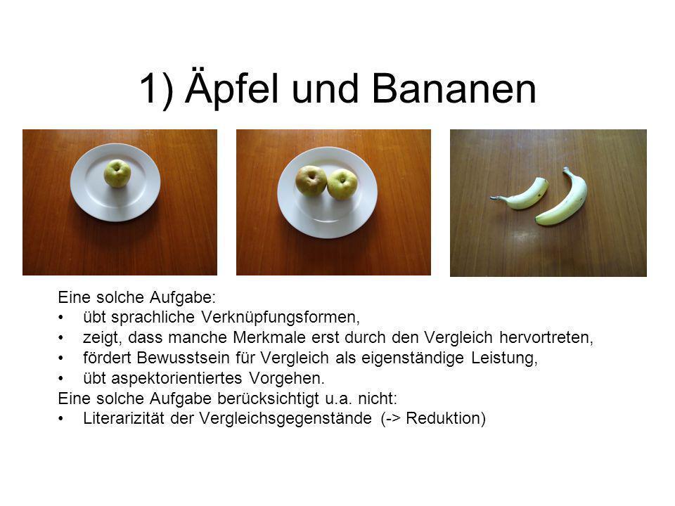 1) Äpfel und Bananen Eine solche Aufgabe: übt sprachliche Verknüpfungsformen, zeigt, dass manche Merkmale erst durch den Vergleich hervortreten, förde