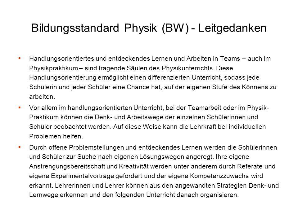 Bildungsstandard Physik (BW) - Leitgedanken Handlungsorientiertes und entdeckendes Lernen und Arbeiten in Teams – auch im Physikpraktikum – sind trage