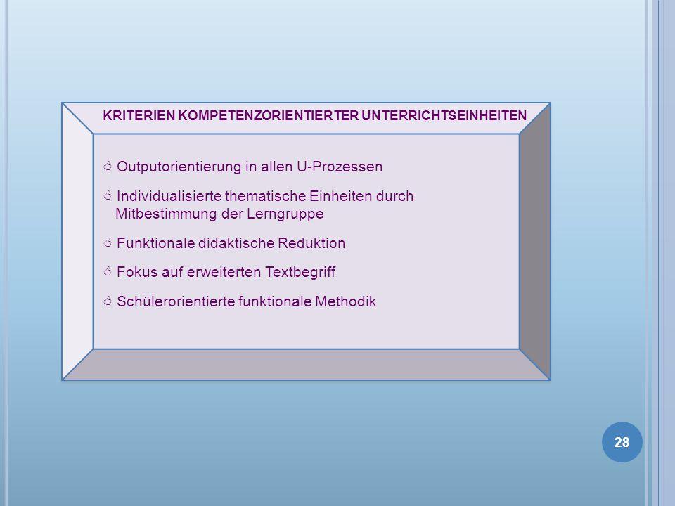 KRITERIEN KOMPETENZORIENTIERTER UNTERRICHTSEINHEITEN Outputorientierung in allen U-Prozessen Individualisierte thematische Einheiten durch Mitbestimmu
