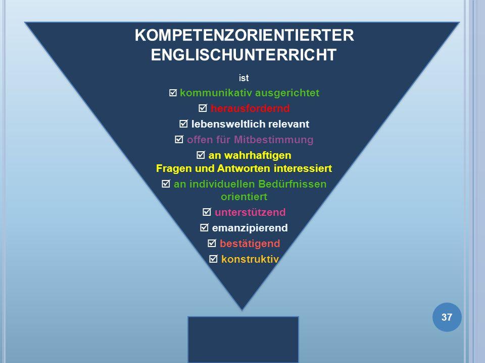 KOMPETENZORIENTIERTER ENGLISCHUNTERRICHT ist kommunikativ ausgerichtet herausfordernd lebensweltlich relevant offen für Mitbestimmung an wahrhaftigen