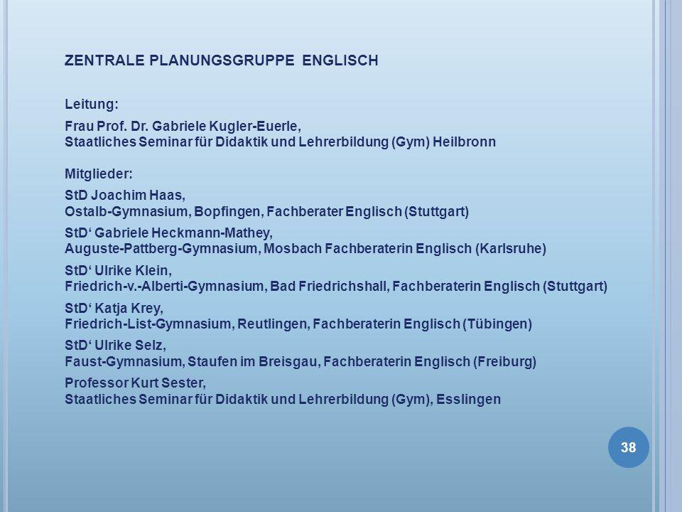 ZENTRALE PLANUNGSGRUPPE ENGLISCH Leitung: Frau Prof. Dr. Gabriele Kugler-Euerle, Staatliches Seminar für Didaktik und Lehrerbildung (Gym) Heilbronn Mi