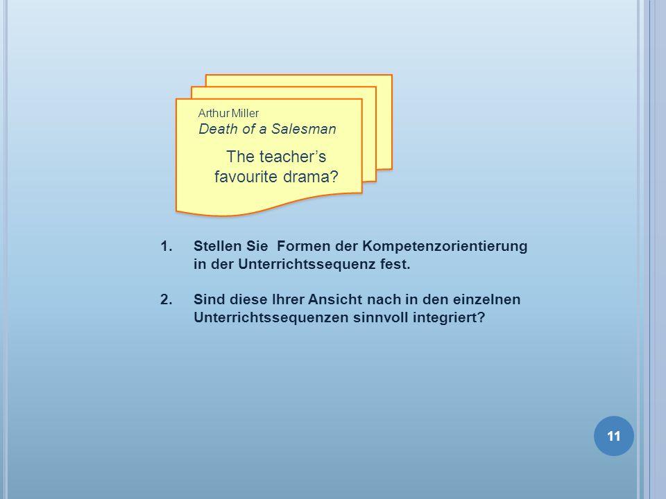 Arthur Miller Death of a Salesman The teachers favourite drama? 1.Stellen Sie Formen der Kompetenzorientierung in der Unterrichtssequenz fest. 2. Sind