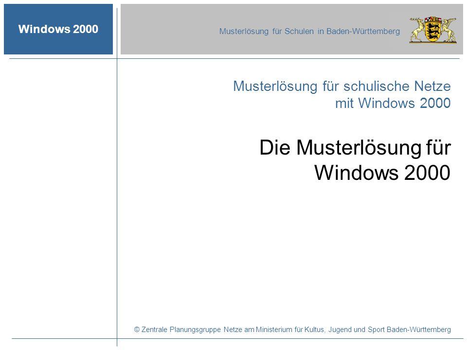 © 2003 ZPN Windows 2000 Musterlösung für Schulen in Baden-Württemberg Die Musterlösung für Windows 2000 Autor: Martin Glomb 2 Inhalt Aspekte der Musterlösung -Forderungen an die Musterlösung -Auslieferungsumfang -Dateien auf den Disketten -Vor- und Nachteile der Windows 2000-Musterlösung Ablauf der Installation -Voraussetzungen -Installationsschritte I - V Die installierte Musterlösung -Die ADS des Servers -Die Ordnerstruktur des Servers Aspekte der Musterlösung Ablauf der Installation Die installierte Musterlösung Verbesserungen durch die Musterlösung
