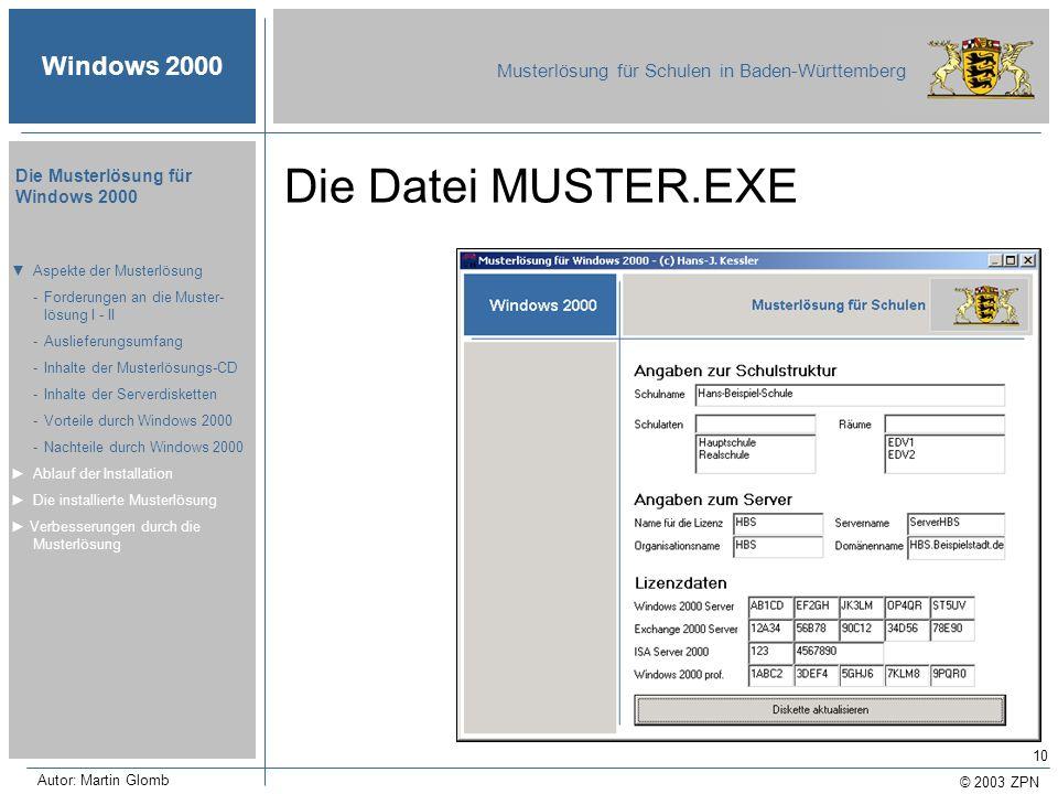 © 2003 ZPN Windows 2000 Musterlösung für Schulen in Baden-Württemberg Die Musterlösung für Windows 2000 Autor: Martin Glomb 10 Die Datei MUSTER.EXE As