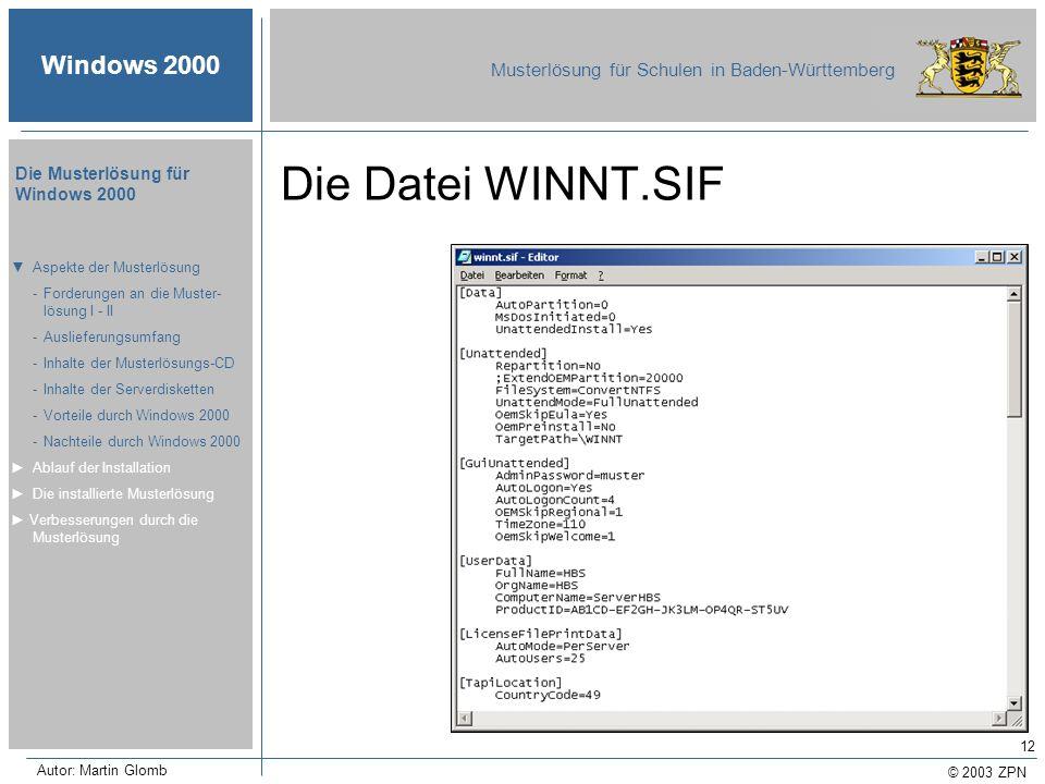 © 2003 ZPN Windows 2000 Musterlösung für Schulen in Baden-Württemberg Die Musterlösung für Windows 2000 Autor: Martin Glomb 12 Die Datei WINNT.SIF Asp
