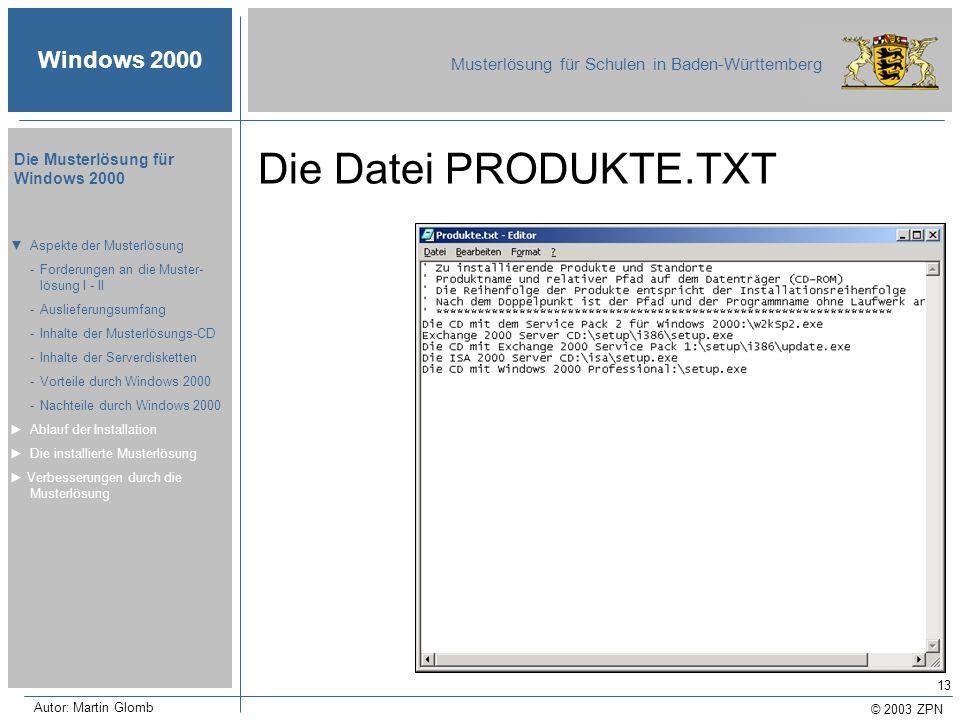 © 2003 ZPN Windows 2000 Musterlösung für Schulen in Baden-Württemberg Die Musterlösung für Windows 2000 Autor: Martin Glomb 13 Die Datei PRODUKTE.TXT