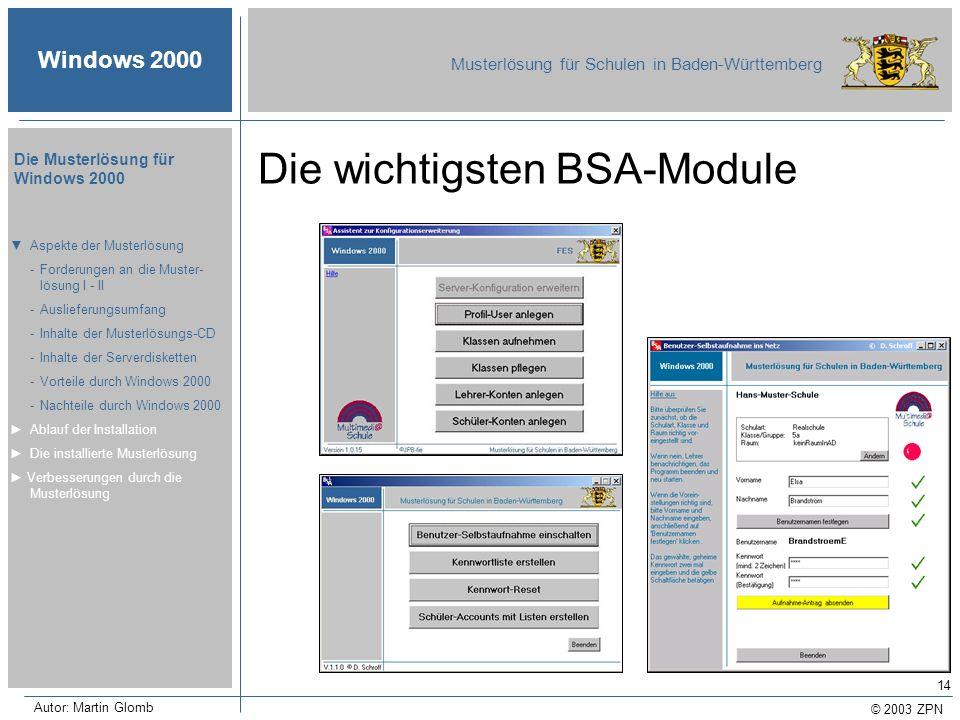 © 2003 ZPN Windows 2000 Musterlösung für Schulen in Baden-Württemberg Die Musterlösung für Windows 2000 Autor: Martin Glomb 14 Die wichtigsten BSA-Mod