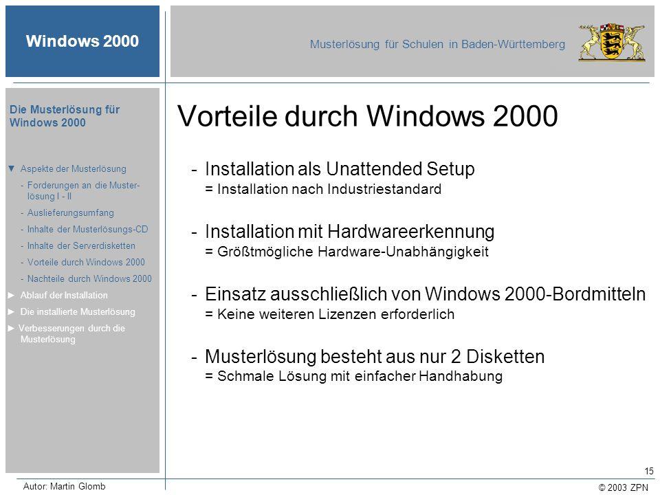 © 2003 ZPN Windows 2000 Musterlösung für Schulen in Baden-Württemberg Die Musterlösung für Windows 2000 Autor: Martin Glomb 15 Vorteile durch Windows