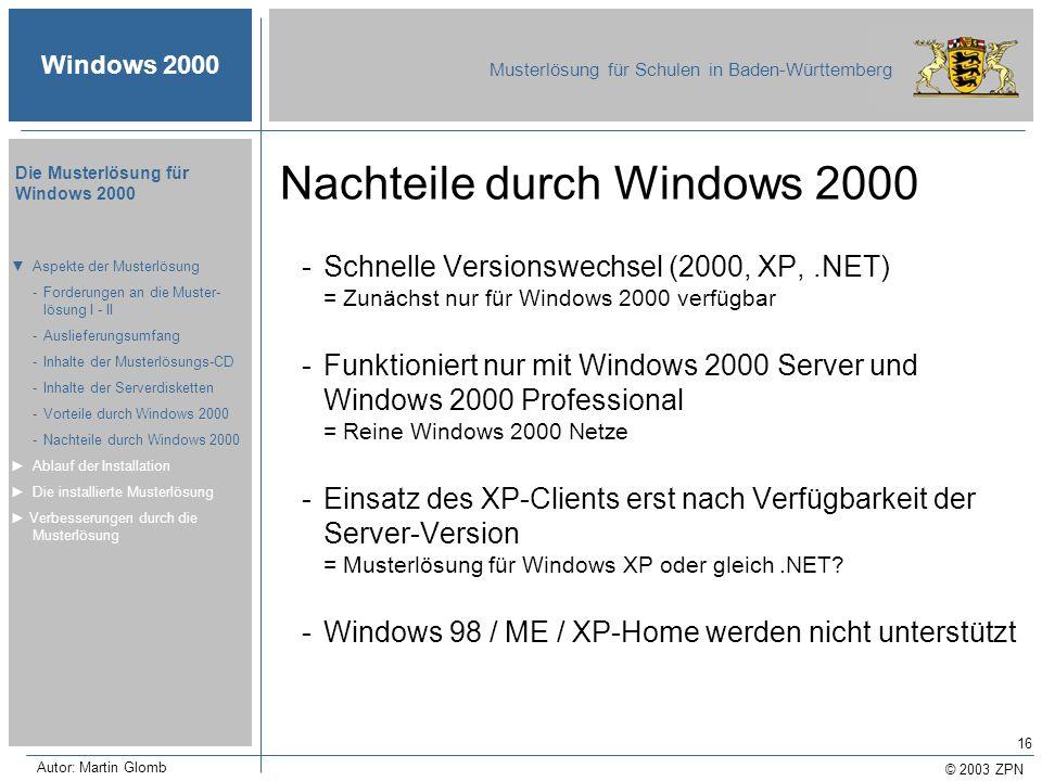 © 2003 ZPN Windows 2000 Musterlösung für Schulen in Baden-Württemberg Die Musterlösung für Windows 2000 Autor: Martin Glomb 16 Nachteile durch Windows