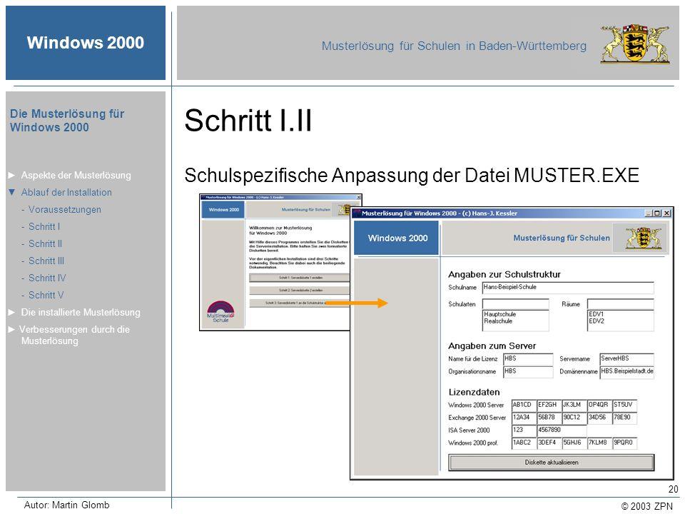 © 2003 ZPN Windows 2000 Musterlösung für Schulen in Baden-Württemberg Die Musterlösung für Windows 2000 Autor: Martin Glomb 20 Schritt I.II Schulspezi