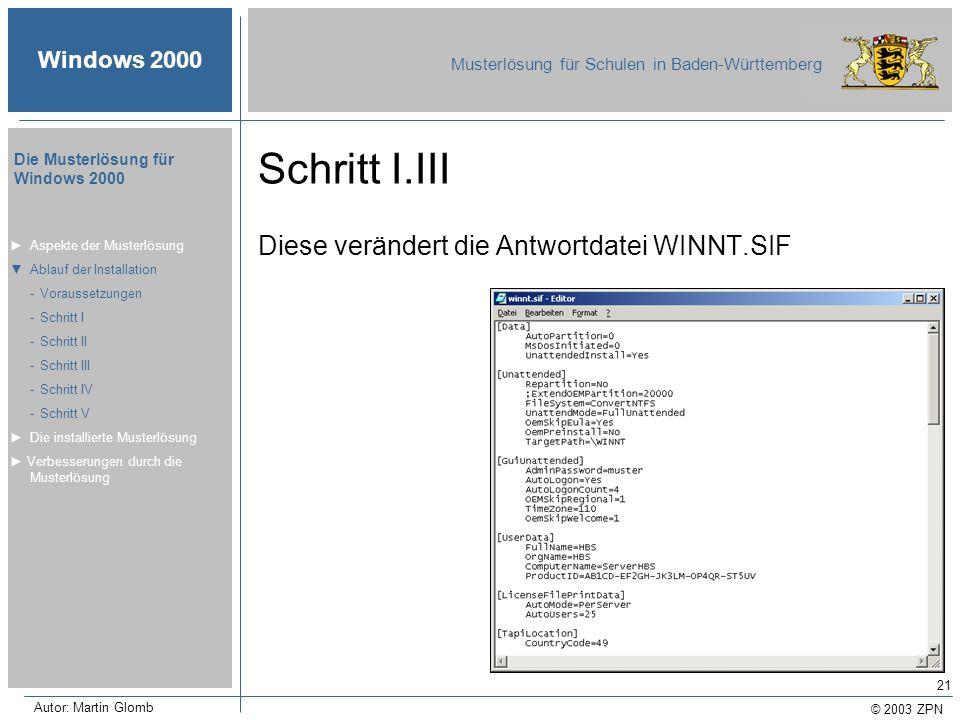 © 2003 ZPN Windows 2000 Musterlösung für Schulen in Baden-Württemberg Die Musterlösung für Windows 2000 Autor: Martin Glomb 21 Schritt I.III Diese ver
