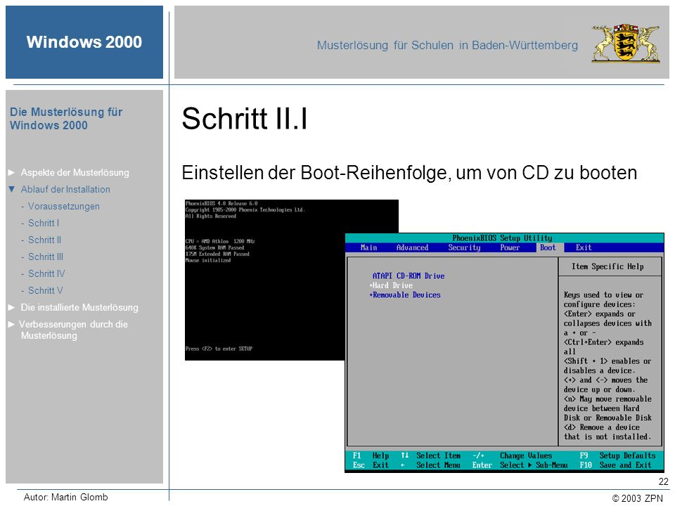 © 2003 ZPN Windows 2000 Musterlösung für Schulen in Baden-Württemberg Die Musterlösung für Windows 2000 Autor: Martin Glomb 22 Schritt II.I Einstellen