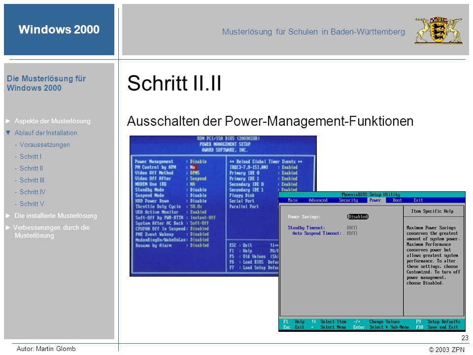 © 2003 ZPN Windows 2000 Musterlösung für Schulen in Baden-Württemberg Die Musterlösung für Windows 2000 Autor: Martin Glomb 23 Schritt II.II Ausschalt