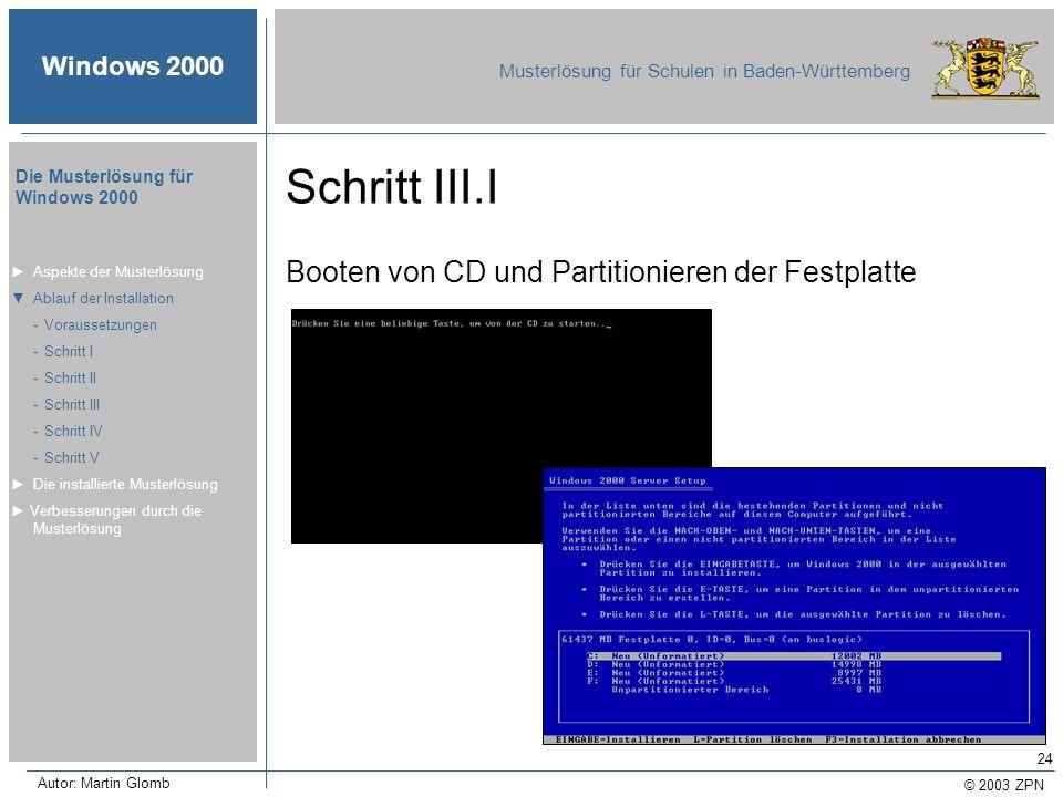 © 2003 ZPN Windows 2000 Musterlösung für Schulen in Baden-Württemberg Die Musterlösung für Windows 2000 Autor: Martin Glomb 24 Schritt III.I Booten vo