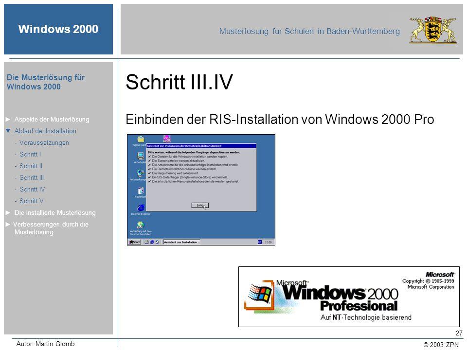 © 2003 ZPN Windows 2000 Musterlösung für Schulen in Baden-Württemberg Die Musterlösung für Windows 2000 Autor: Martin Glomb 27 Schritt III.IV Einbinde