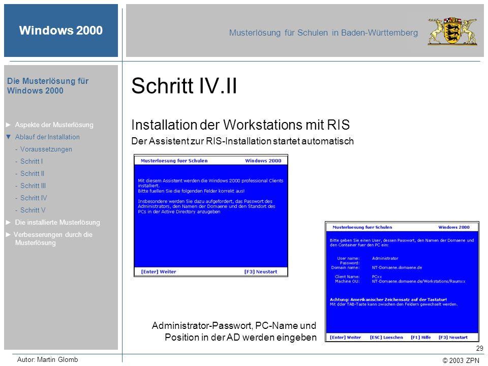 © 2003 ZPN Windows 2000 Musterlösung für Schulen in Baden-Württemberg Die Musterlösung für Windows 2000 Autor: Martin Glomb 29 Schritt IV.II Installat