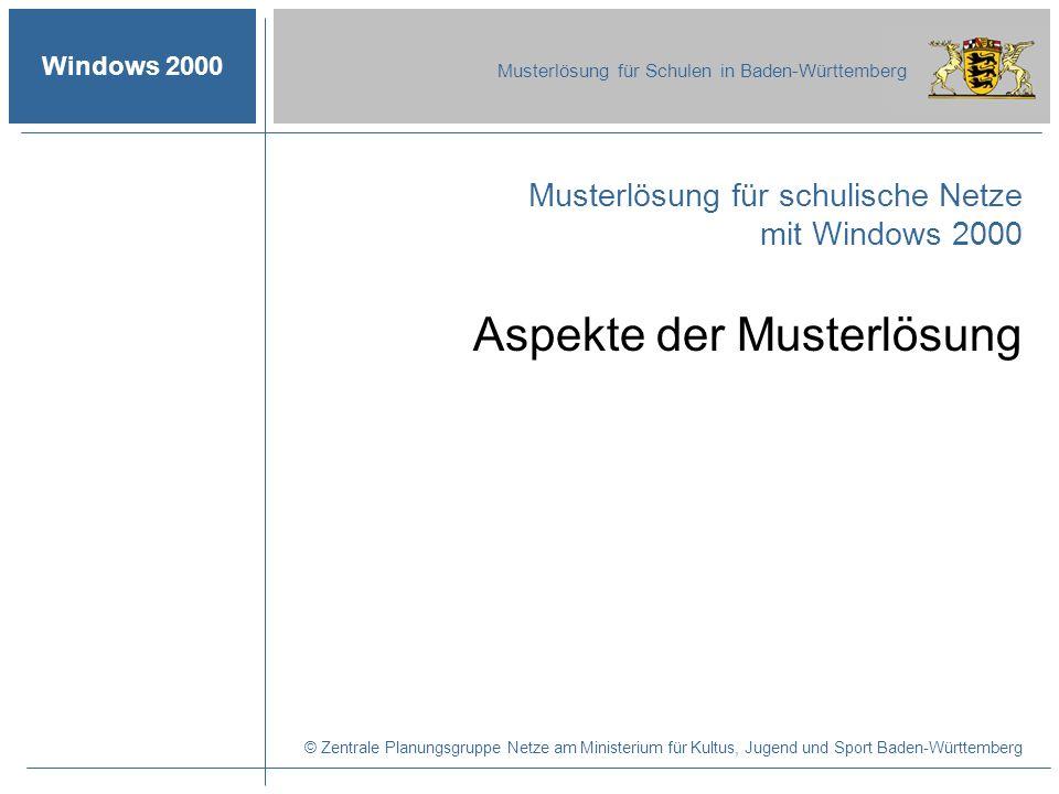 © 2003 ZPN Windows 2000 Musterlösung für Schulen in Baden-Württemberg Die Musterlösung für Windows 2000 Autor: Martin Glomb 14 Die wichtigsten BSA-Module Aspekte der Musterlösung -Forderungen an die Muster- lösung I - II -Auslieferungsumfang -Inhalte der Musterlösungs-CD -Inhalte der Serverdisketten -Vorteile durch Windows 2000 -Nachteile durch Windows 2000 Ablauf der Installation Die installierte Musterlösung Verbesserungen durch die Musterlösung
