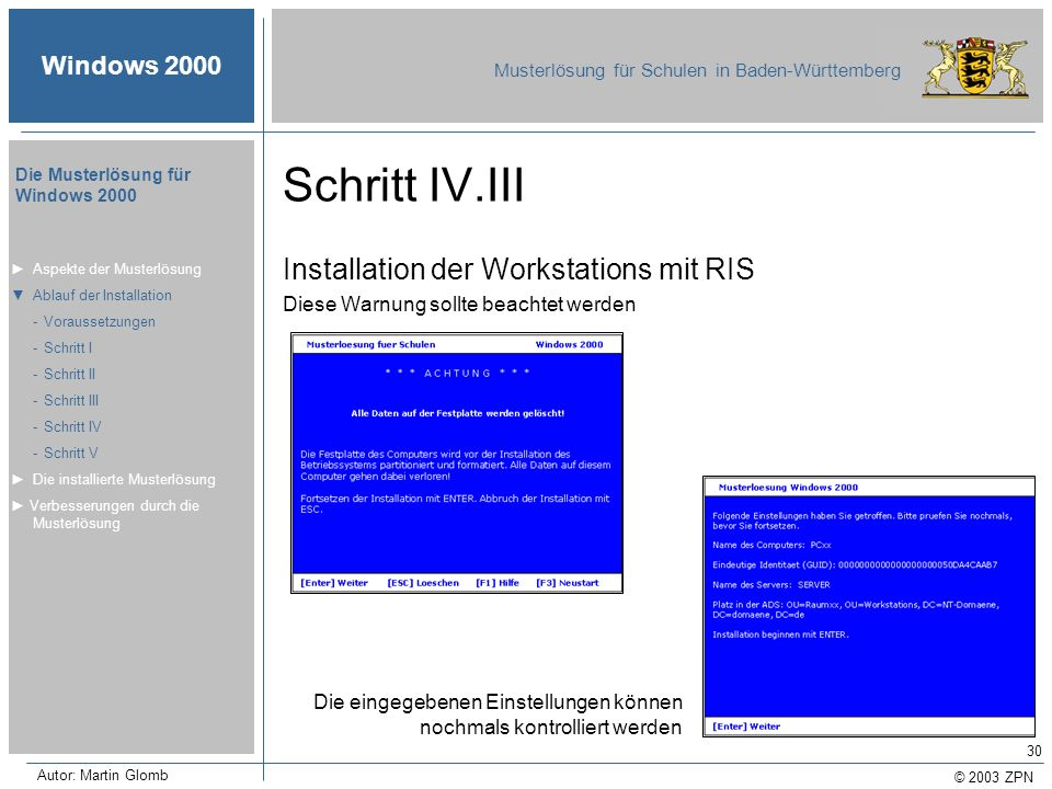 © 2003 ZPN Windows 2000 Musterlösung für Schulen in Baden-Württemberg Die Musterlösung für Windows 2000 Autor: Martin Glomb 30 Schritt IV.III Installa