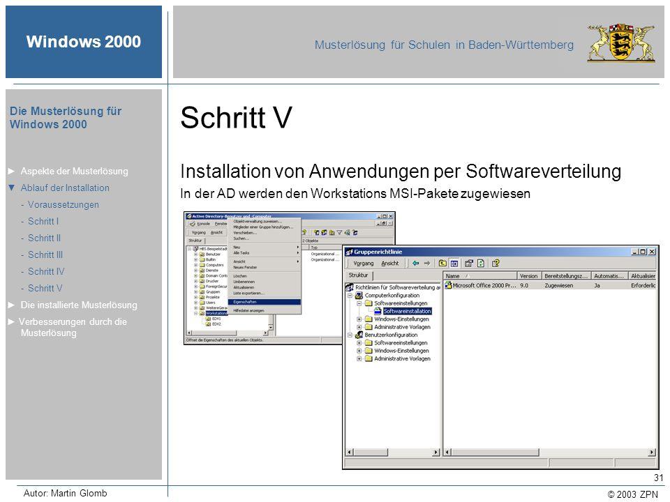 © 2003 ZPN Windows 2000 Musterlösung für Schulen in Baden-Württemberg Die Musterlösung für Windows 2000 Autor: Martin Glomb 31 Schritt V Installation