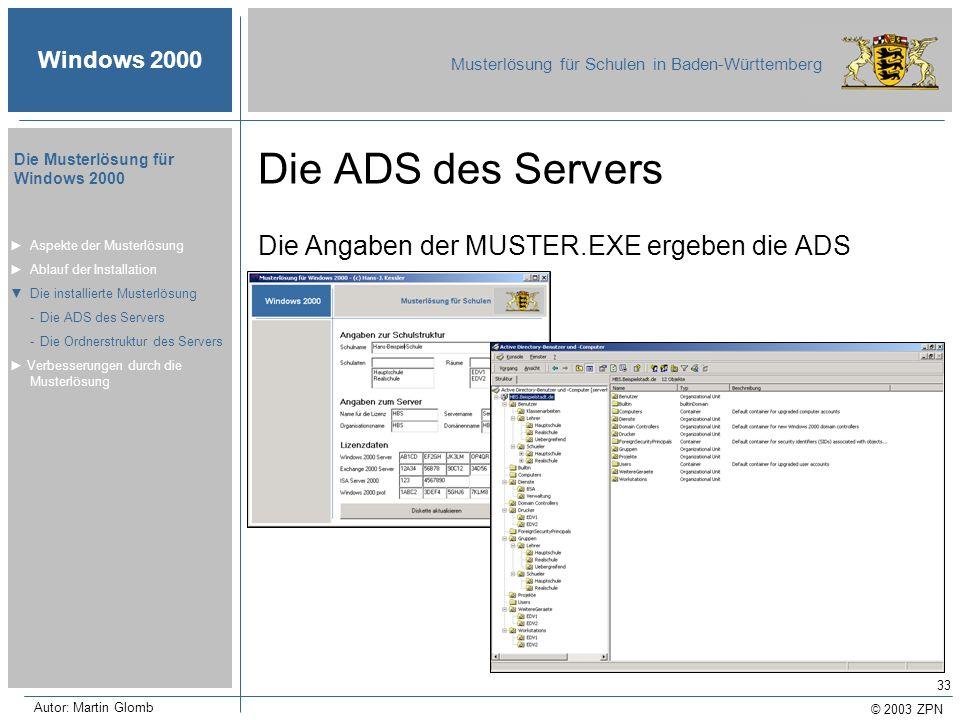 © 2003 ZPN Windows 2000 Musterlösung für Schulen in Baden-Württemberg Die Musterlösung für Windows 2000 Autor: Martin Glomb 33 Die ADS des Servers Die