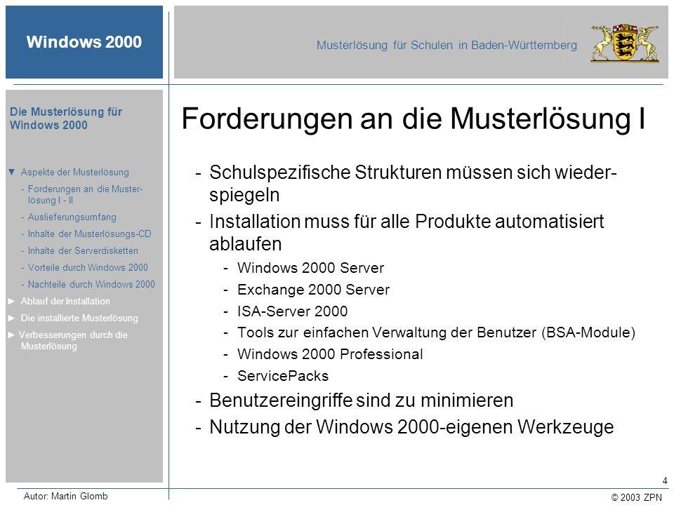 © 2003 ZPN Windows 2000 Musterlösung für Schulen in Baden-Württemberg Die Musterlösung für Windows 2000 Autor: Martin Glomb 5 Forderungen an die Musterlösung II -Installation nach Industrie-Standard -Windows 2000 Server muss vollständig (mit DNS, DHCP und ADS) installiert werden -Einsatz von Gruppenrichtlinien -Komplette Benutzerverwaltung -Benutzer-Massen-Import -Passwortverwaltung -Löschen von Benutzern -Benutzer-Selbst-Aufnahme -Wiederherstellung ausgefallener Workstations -Einsatz der Softwareverteilung (MSI-Pakete) Aspekte der Musterlösung -Forderungen an die Muster- lösung I - II -Auslieferungsumfang -Inhalte der Musterlösungs-CD -Inhalte der Serverdisketten -Vorteile durch Windows 2000 -Nachteile durch Windows 2000 Ablauf der Installation Die installierte Musterlösung Verbesserungen durch die Musterlösung