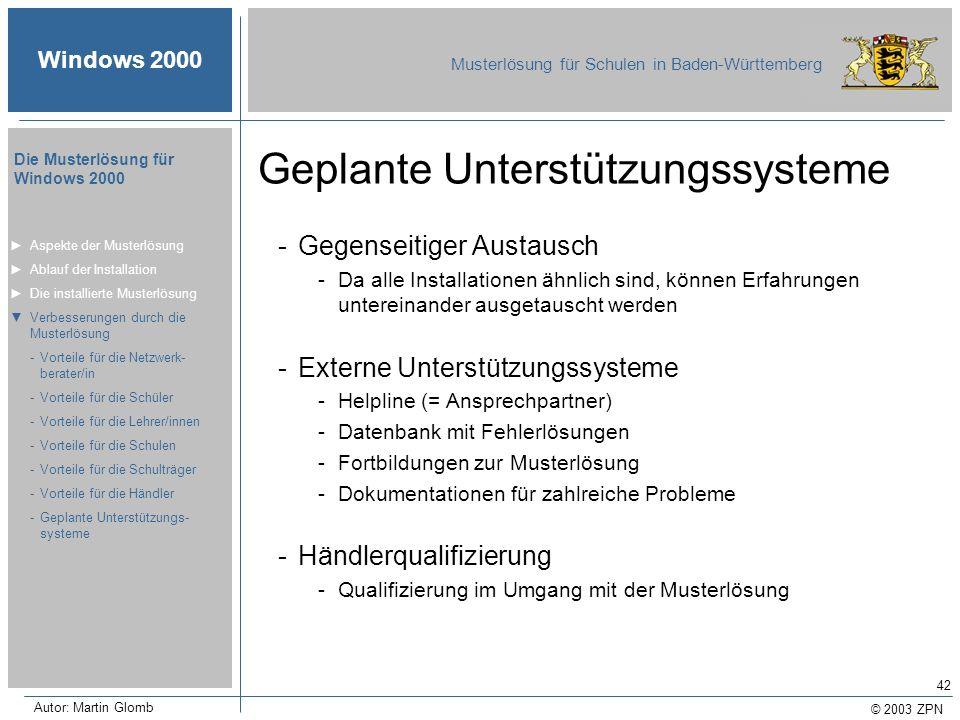 © 2003 ZPN Windows 2000 Musterlösung für Schulen in Baden-Württemberg Die Musterlösung für Windows 2000 Autor: Martin Glomb 42 Geplante Unterstützungs