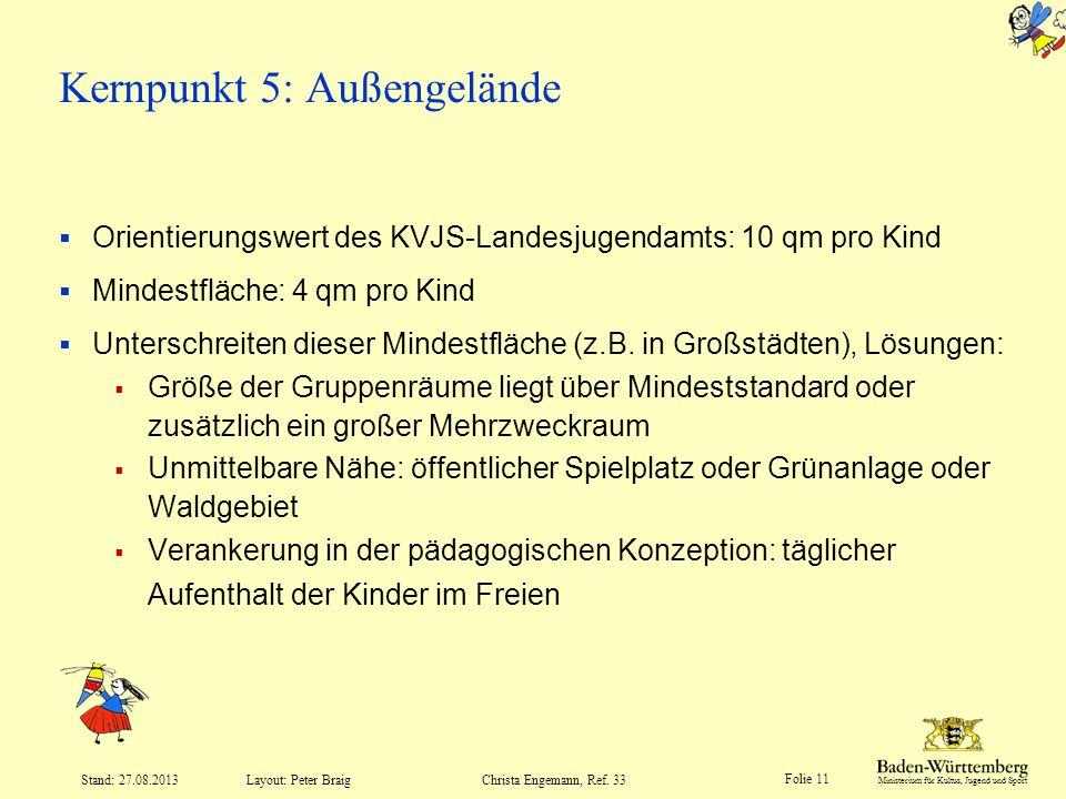 Ministerium für Kultus, Jugend und Sport Folie 11 Layout: Peter Braig Stand: 27.08.2013Christa Engemann, Ref. 33 Kernpunkt 5: Außengelände Orientierun