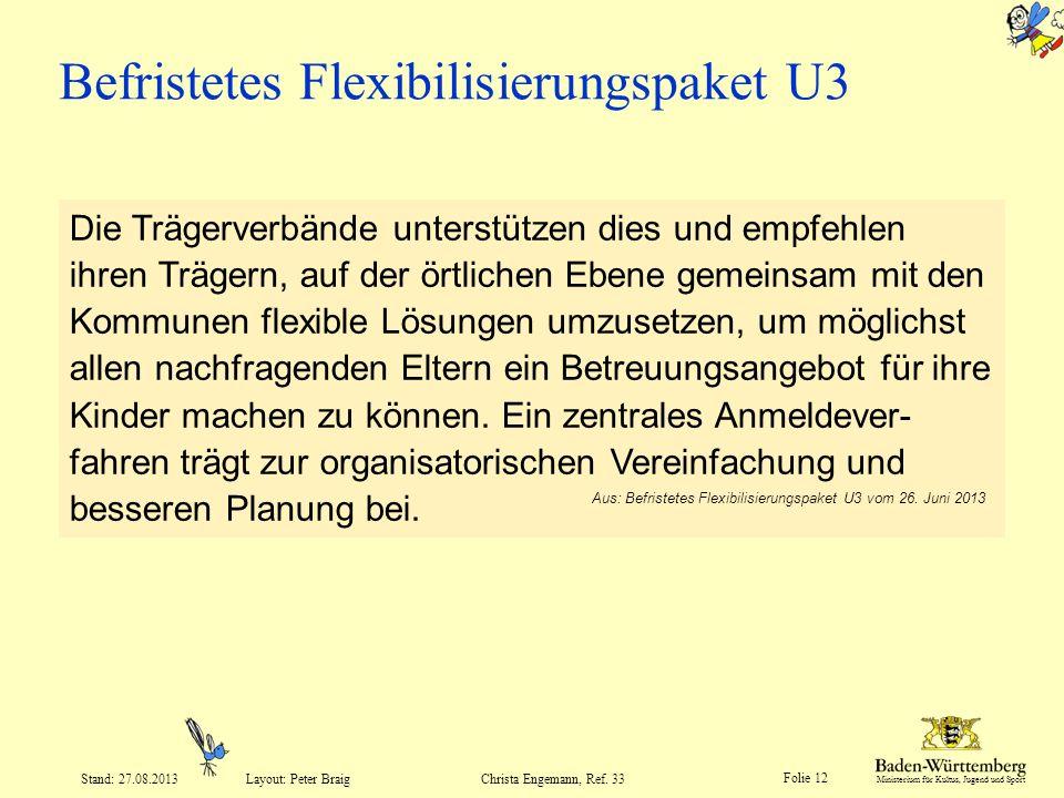 Ministerium für Kultus, Jugend und Sport Folie 12 Layout: Peter Braig Stand: 27.08.2013Christa Engemann, Ref. 33 Befristetes Flexibilisierungspaket U3