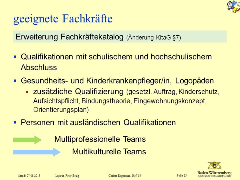 Ministerium für Kultus, Jugend und Sport Folie 15 Layout: Peter Braig Stand: 27.08.2013Christa Engemann, Ref. 33 Qualifikationen mit schulischem und h