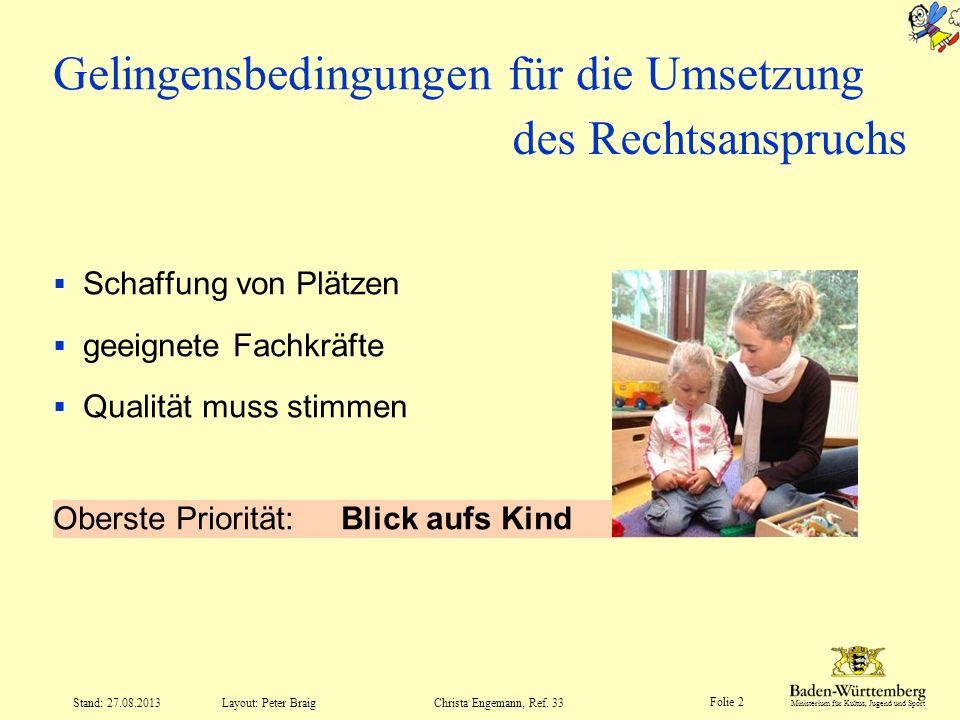 Ministerium für Kultus, Jugend und Sport Folie 2 Layout: Peter Braig Stand: 27.08.2013Christa Engemann, Ref. 33 Gelingensbedingungen für die Umsetzung