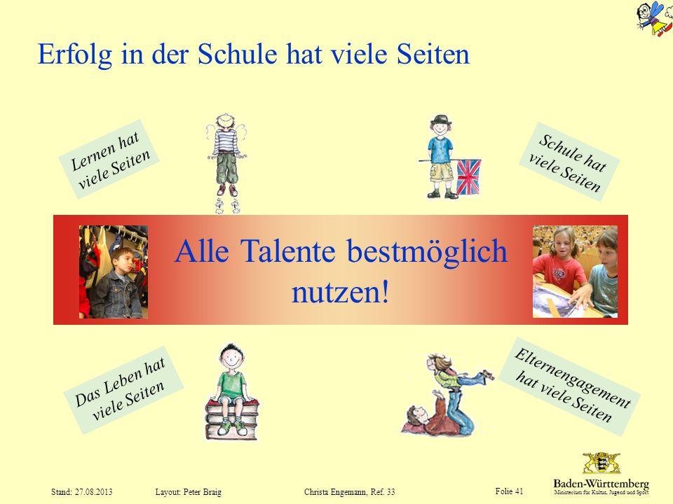 Ministerium für Kultus, Jugend und Sport Folie 41 Layout: Peter Braig Stand: 27.08.2013Christa Engemann, Ref. 33 Erfolg in der Schule hat viele Seiten