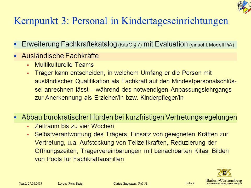 Ministerium für Kultus, Jugend und Sport Folie 9 Layout: Peter Braig Stand: 27.08.2013Christa Engemann, Ref. 33 Erweiterung Fachkräftekatalog (KitaG §