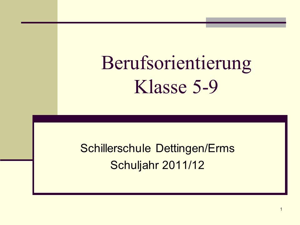 Berufsorientierung Klasse 5-9 Schillerschule Dettingen/Erms Schuljahr 2011/12 1
