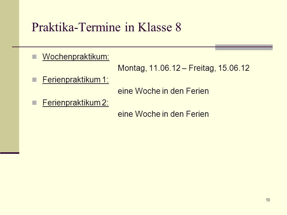 Berufsorientierung in Klasse 8-1 Elternabend zur Berufsorientierung (Jobpaten; Frau Jedele-Berner) Tagespraktikum 1 (5x1Tag) incl.