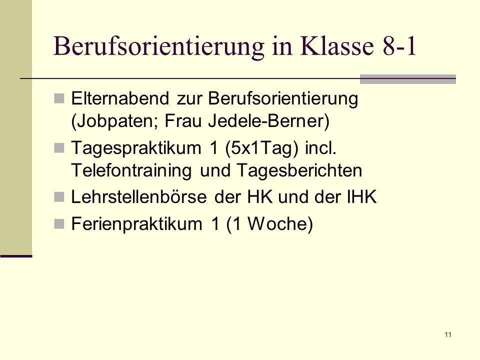 Berufsorientierung in Klasse 8-1 Elternabend zur Berufsorientierung (Jobpaten; Frau Jedele-Berner) Tagespraktikum 1 (5x1Tag) incl. Telefontraining und