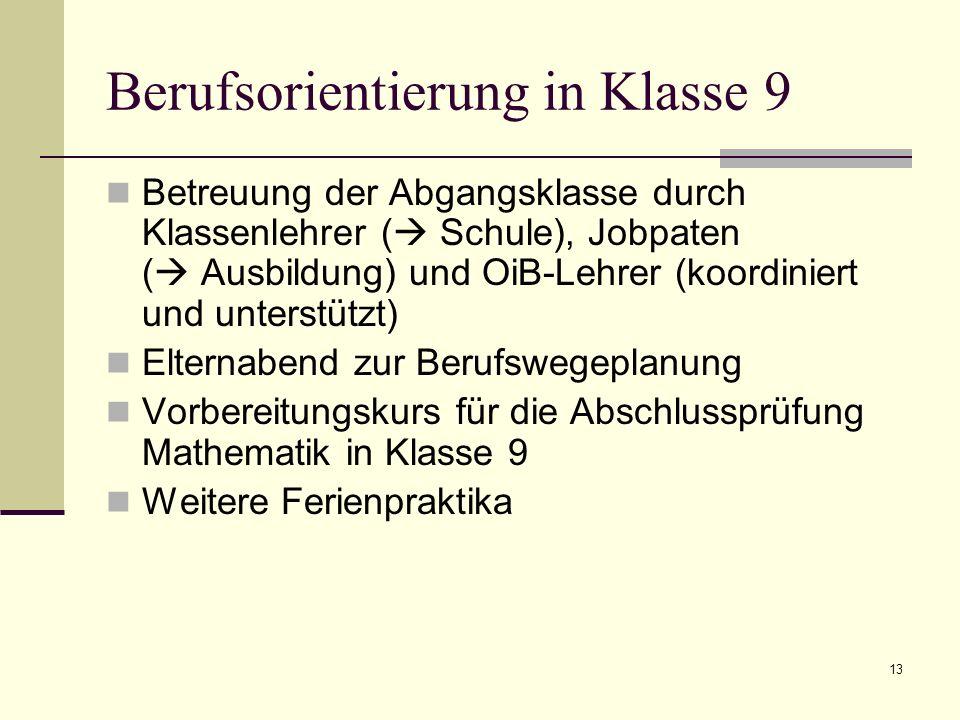 Berufsorientierung in Klasse 9 Betreuung der Abgangsklasse durch Klassenlehrer ( Schule), Jobpaten ( Ausbildung) und OiB-Lehrer (koordiniert und unter