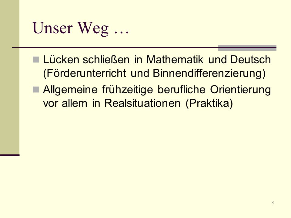 Unser Weg … Lücken schließen in Mathematik und Deutsch (Förderunterricht und Binnendifferenzierung) Allgemeine frühzeitige berufliche Orientierung vor