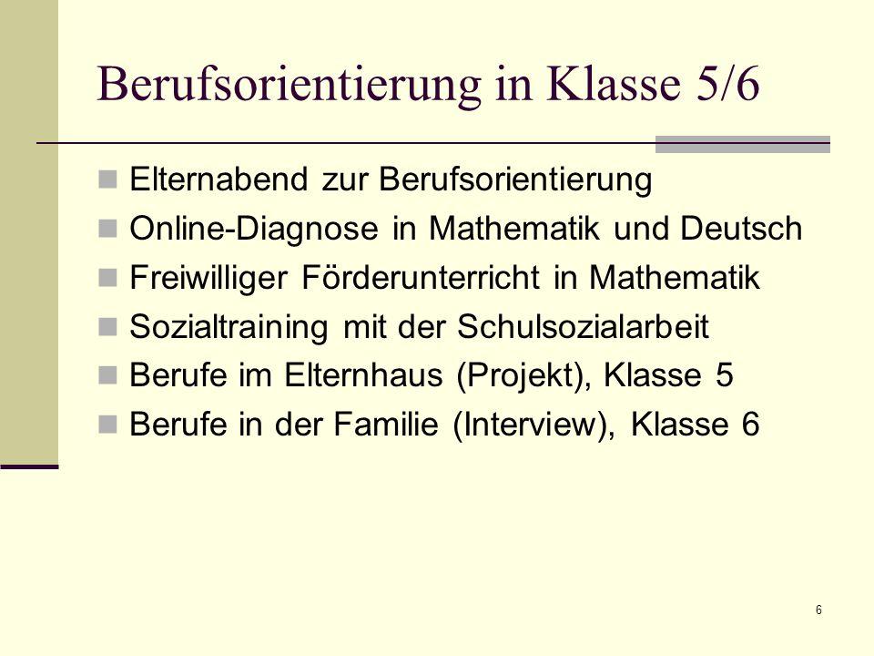 Berufsorientierung in Klasse 5/6 Elternabend zur Berufsorientierung Online-Diagnose in Mathematik und Deutsch Freiwilliger Förderunterricht in Mathema