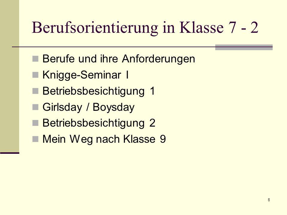 Berufsorientierung in Klasse 7 - 2 Berufe und ihre Anforderungen Knigge-Seminar I Betriebsbesichtigung 1 Girlsday / Boysday Betriebsbesichtigung 2 Mei