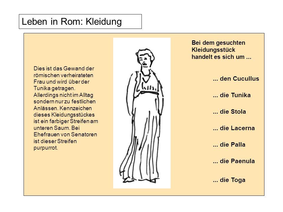 Leben in Rom: Kleidung Dies ist das Gewand der römischen verheirateten Frau und wird über der Tunika getragen. Allerdings nicht im Alltag sondern nur