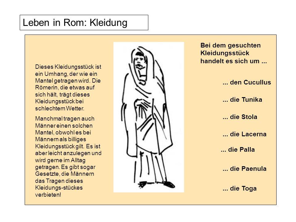 Leben in Rom: Kleidung Dieses Kleidungsstück ist ein Umhang, der wie ein Mantel getragen wird. Die Römerin, die etwas auf sich hält, trägt dieses Klei