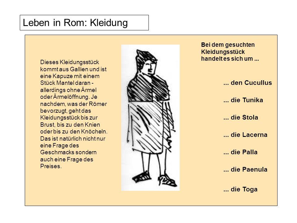 Leben in Rom: Kleidung Dieses Kleidungsstück kommt aus Gallien und ist eine Kapuze mit einem Stück Mantel daran - allerdings ohne Ärmel oder Ärmelöffn