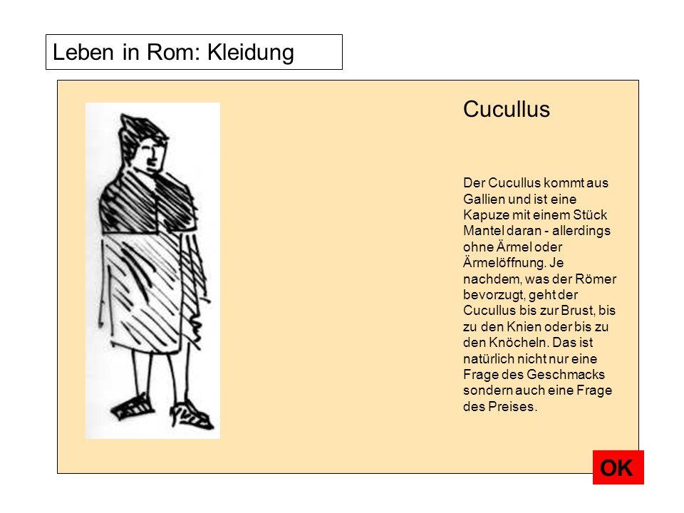 Leben in Rom: Kleidung Der Cucullus kommt aus Gallien und ist eine Kapuze mit einem Stück Mantel daran - allerdings ohne Ärmel oder Ärmelöffnung. Je n