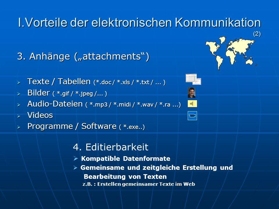 I.Vorteile der elektronischen Kommunikation (1) 1.